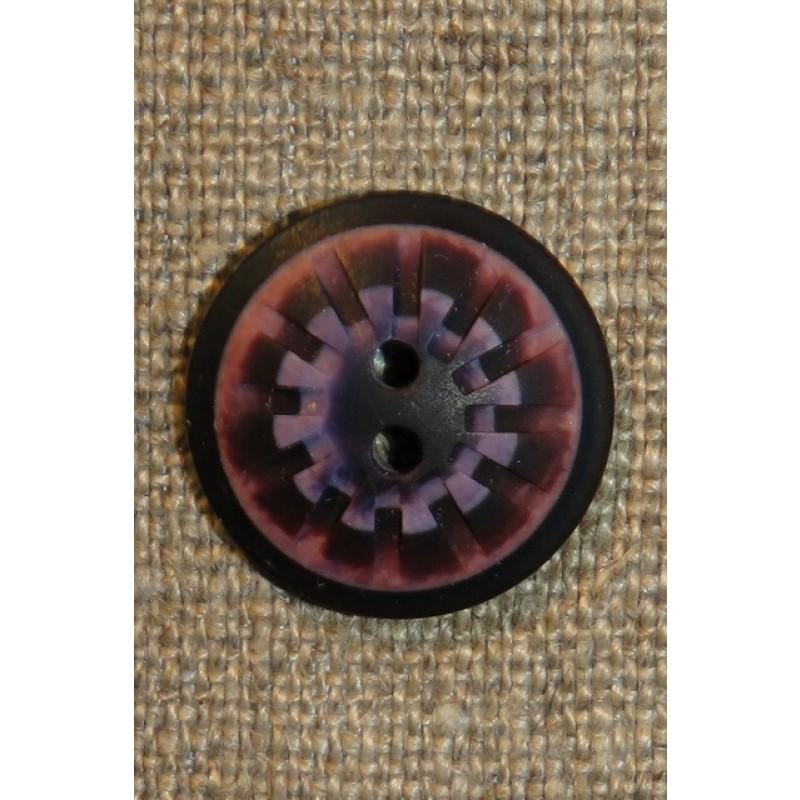 2-huls knap mønstret i rosa aubergine lilla 20 mm.-38