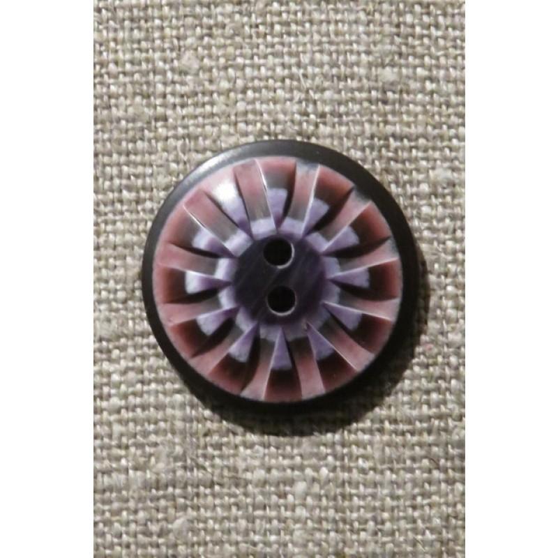 2-huls knap mønstret i rosa aubergine lilla 25 mm.-39
