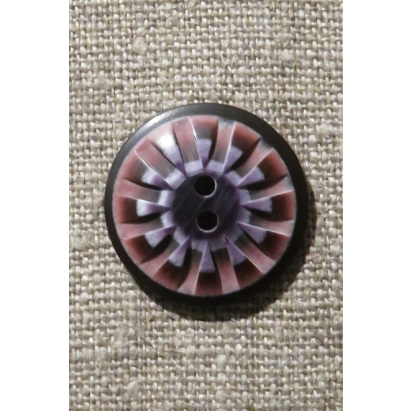 2-huls knap mønstret i rosa aubergine lilla 25 mm.
