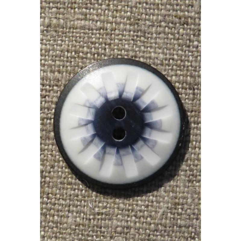 2-huls knap mønstret i hvid sort denim 25 mm.-310
