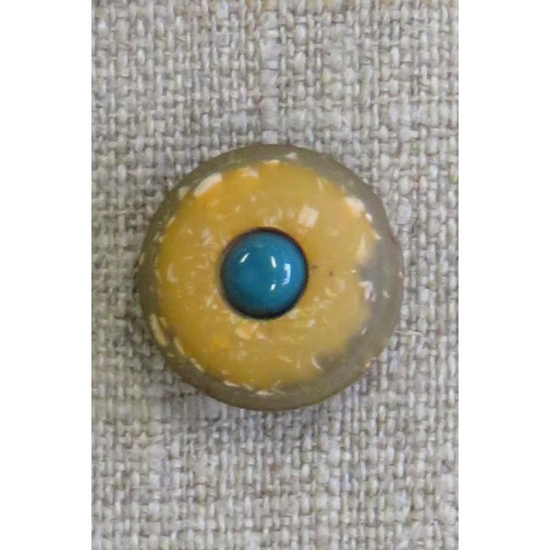 Rund knap i brun og gylden med petrol midte, 18 mm.
