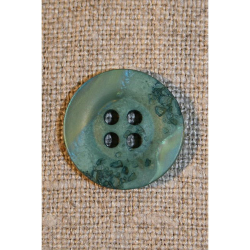 Grøn/mint krakeleret knap, 18 mm.