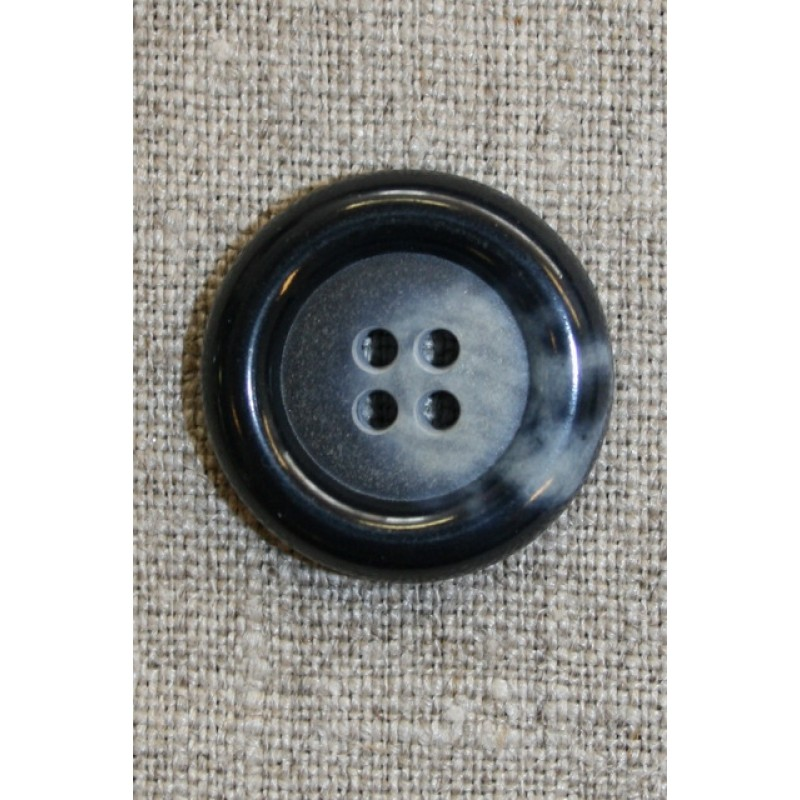 Blå meleret 4-huls knap, 25 mm.-31