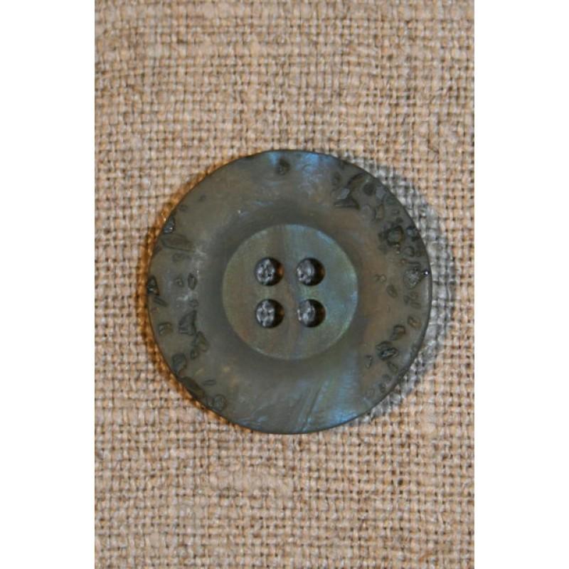 Støvet grøn krakeleret knap, 23 mm.-31
