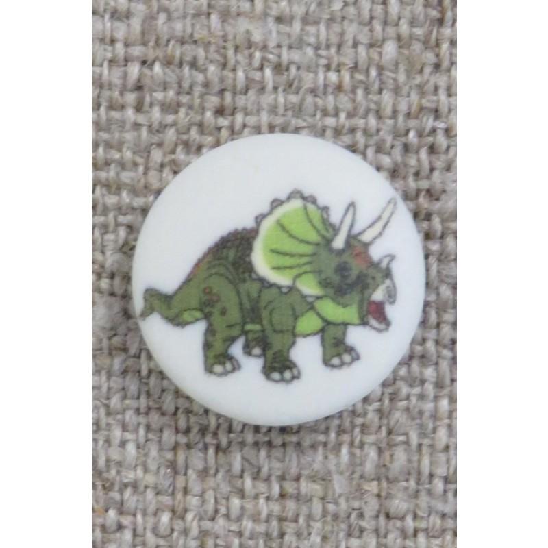 Knap med dinosaur i hvid og grøn, 15 mm.-36