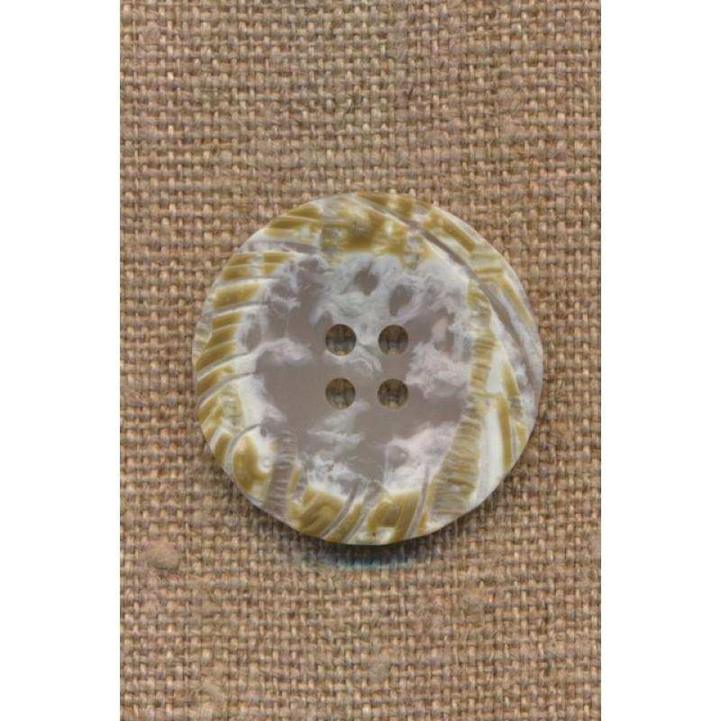 4-huls knap i offwhite meleret med okker i kanten, 28 mm.-35