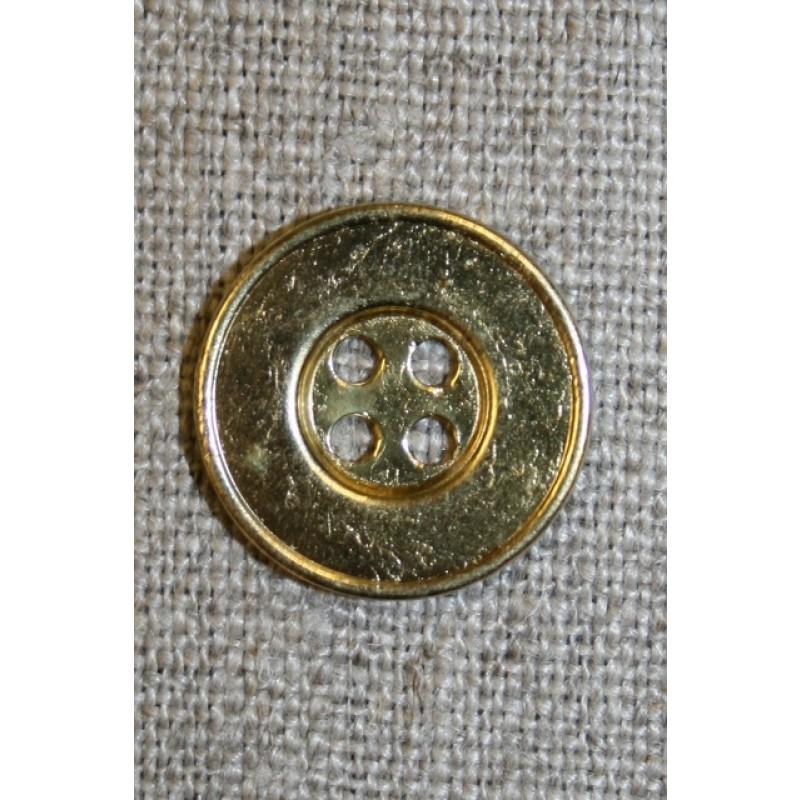 4-huls metal-knap guld, 18 mm.-31