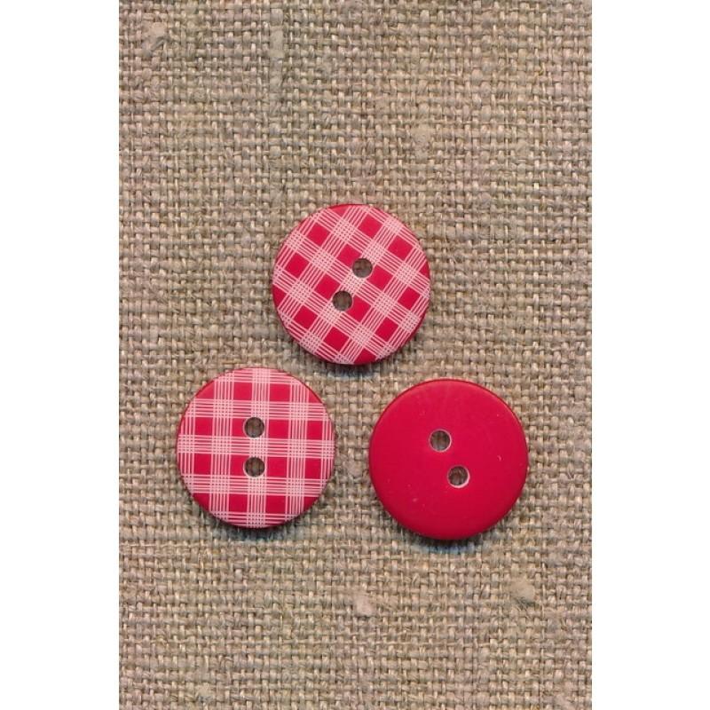2-huls knap med tern i rød, 15 mm.