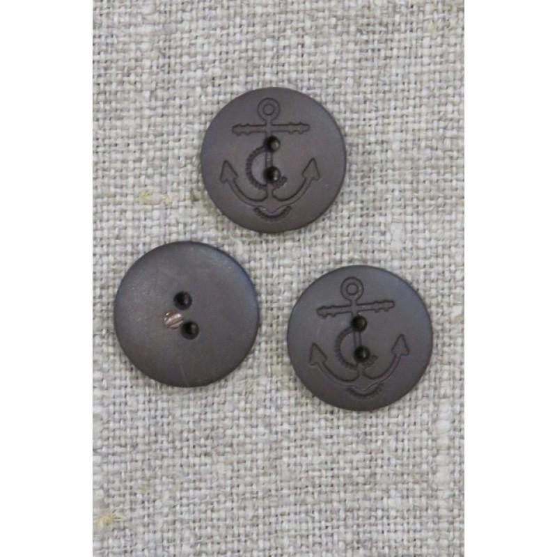2-huls knap i mørkebrun med anker 15 mm.