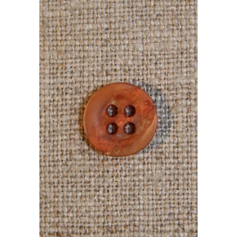 Orange/gylden krakeleret knap 11 mm.