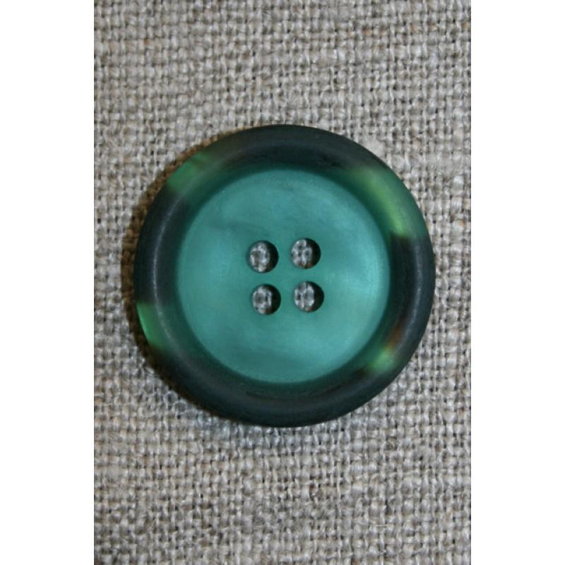 Petrol-grøn knap m/kant i army-look, 18 mm.