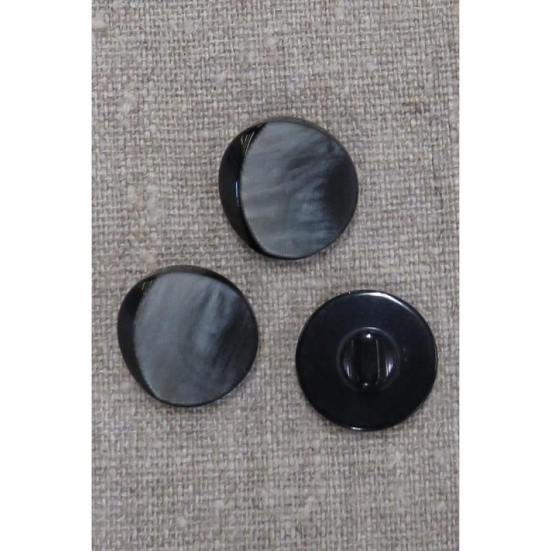 Grå knap med sort skygge, 20 mm.