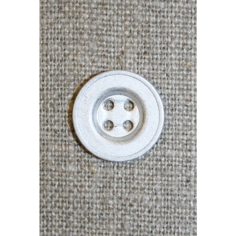 4-huls mat sølv-knap, 15 mm.-33