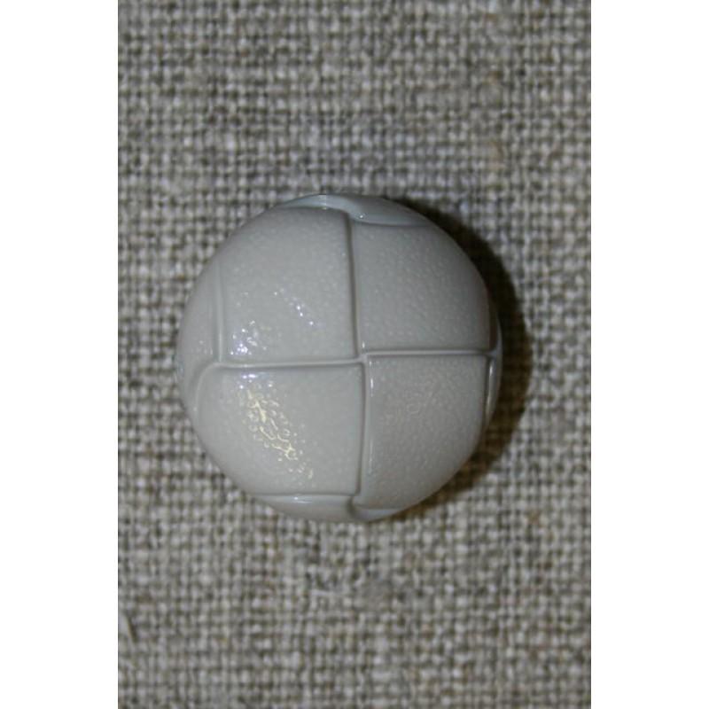 Skind-look knap lysegrå/kit 20 mm