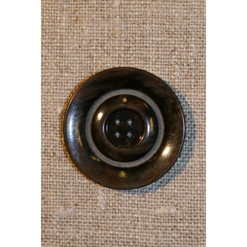 4-huls knap brun/grøn, 30 mm.-33