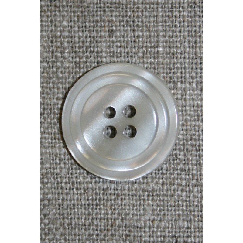 4-huls knap m/cirkel, lysegrå