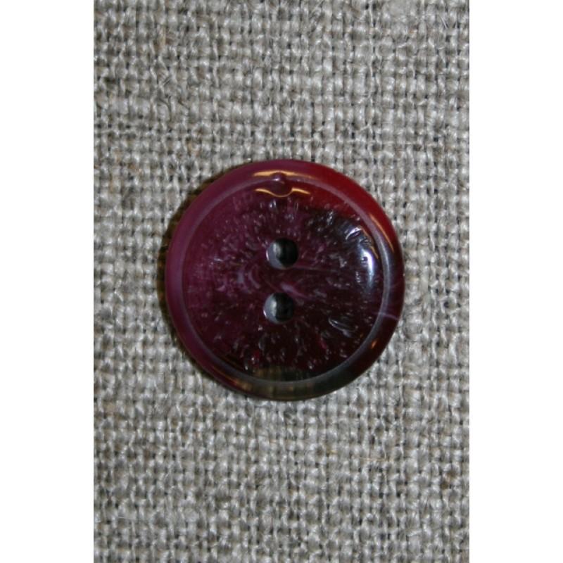 Vinrød 2-huls knap, 15 mm.