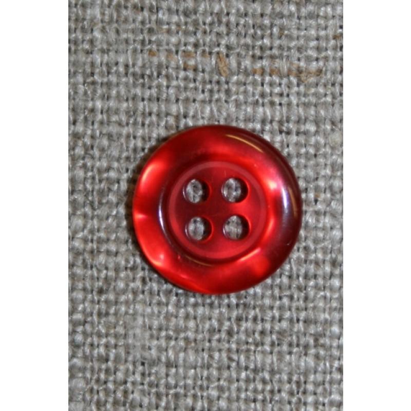 Rød blank 4-huls knap, 12 mm.-31