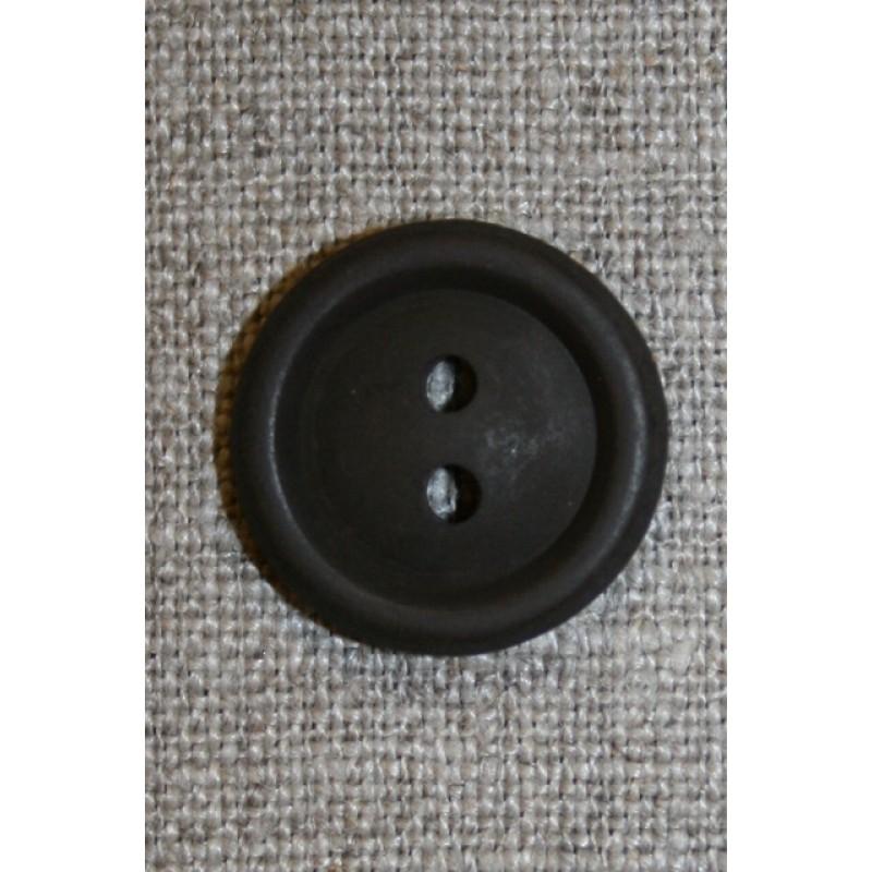 Mørkebrun 2-huls knap, 20 mm.-31