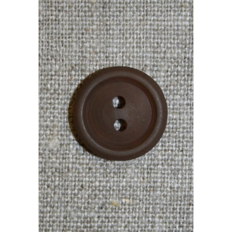 Brun 2-huls knap, 17 mm.-33