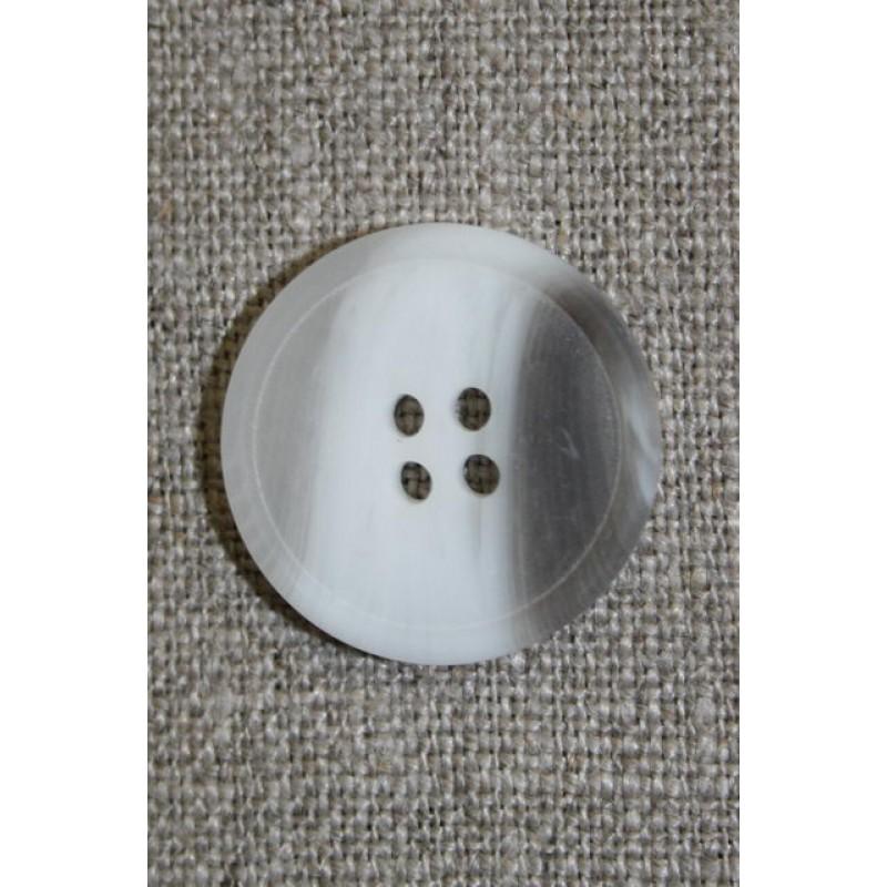 4-huls knap hvid/klar/grå-brun 18 mm.-33
