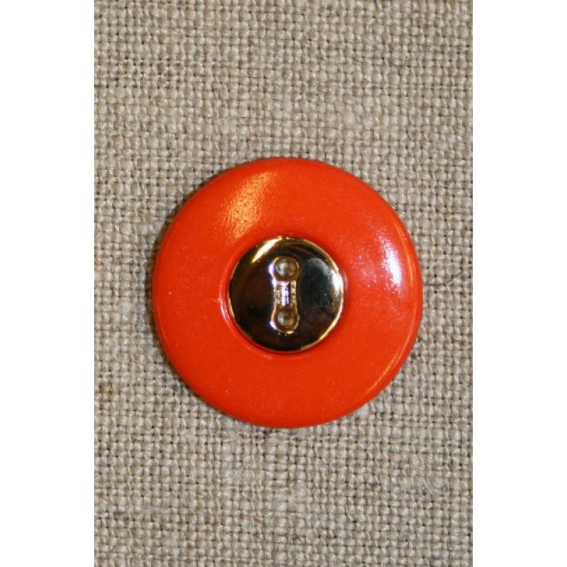 Orange knap m/guld midte 23 mm.-31
