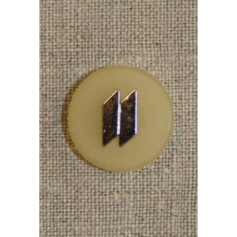 Knap lysegul m/sølv 20 mm.