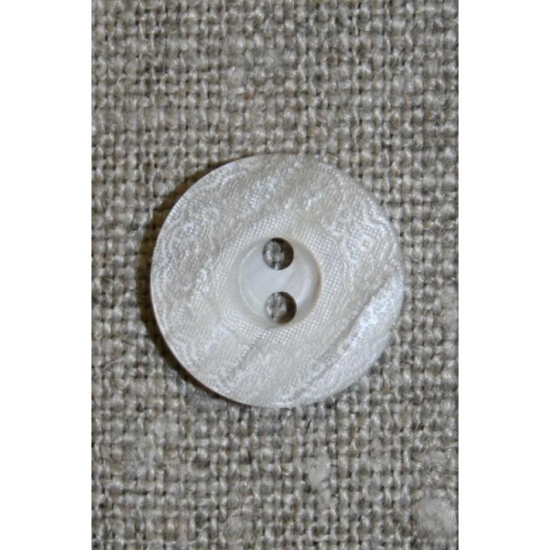 Lysegrå knap m/blonde-kant, 15 mm.