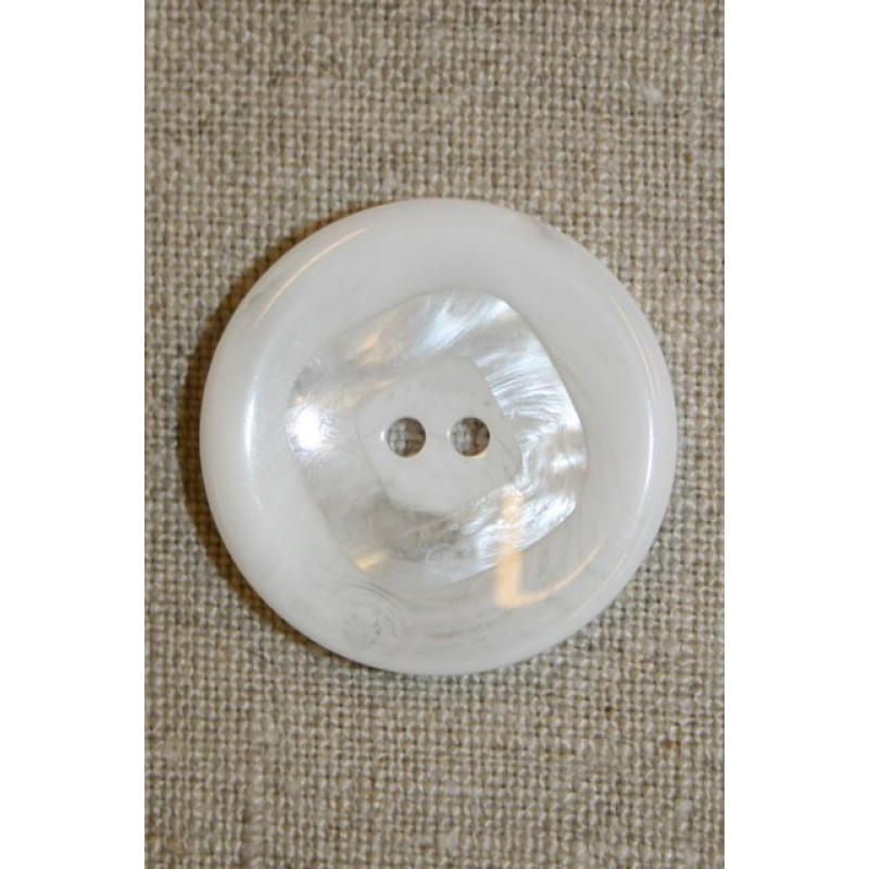 Stor hvid knap m/firkant 30 mm.