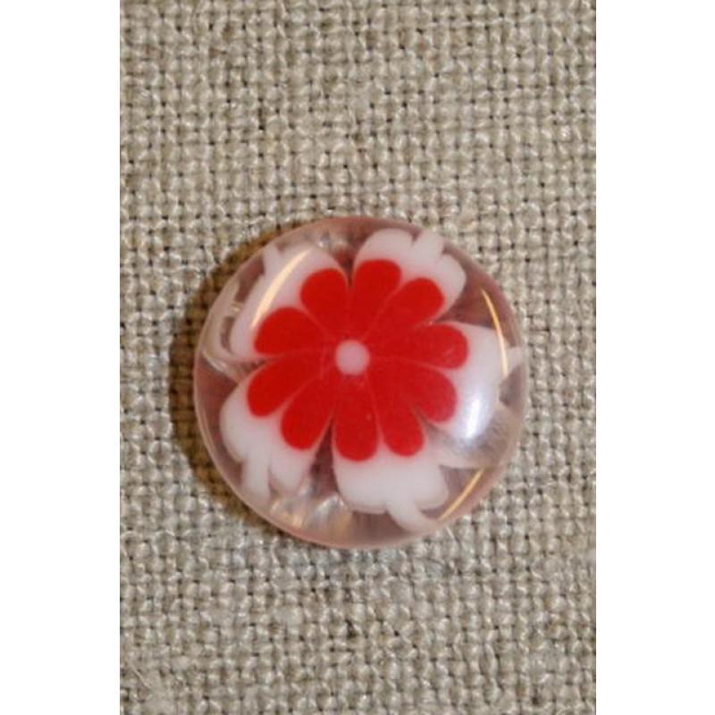 Klar knap m/blomst rød