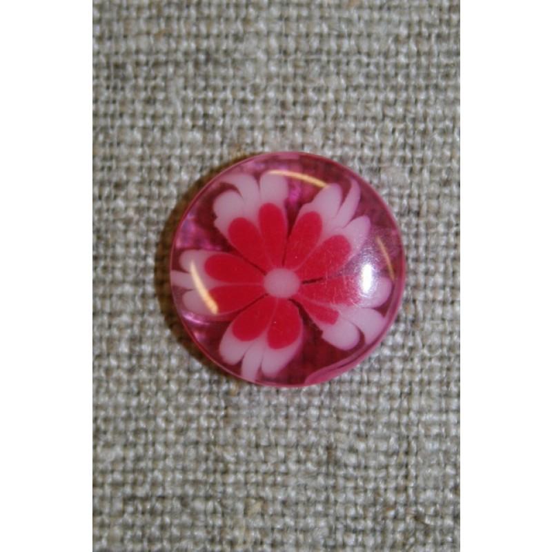 Klar knap m/blomst pink-33