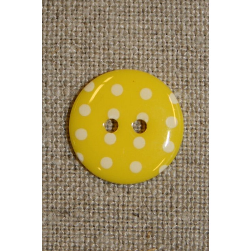 Knap m/prikker gul m/hvid-33