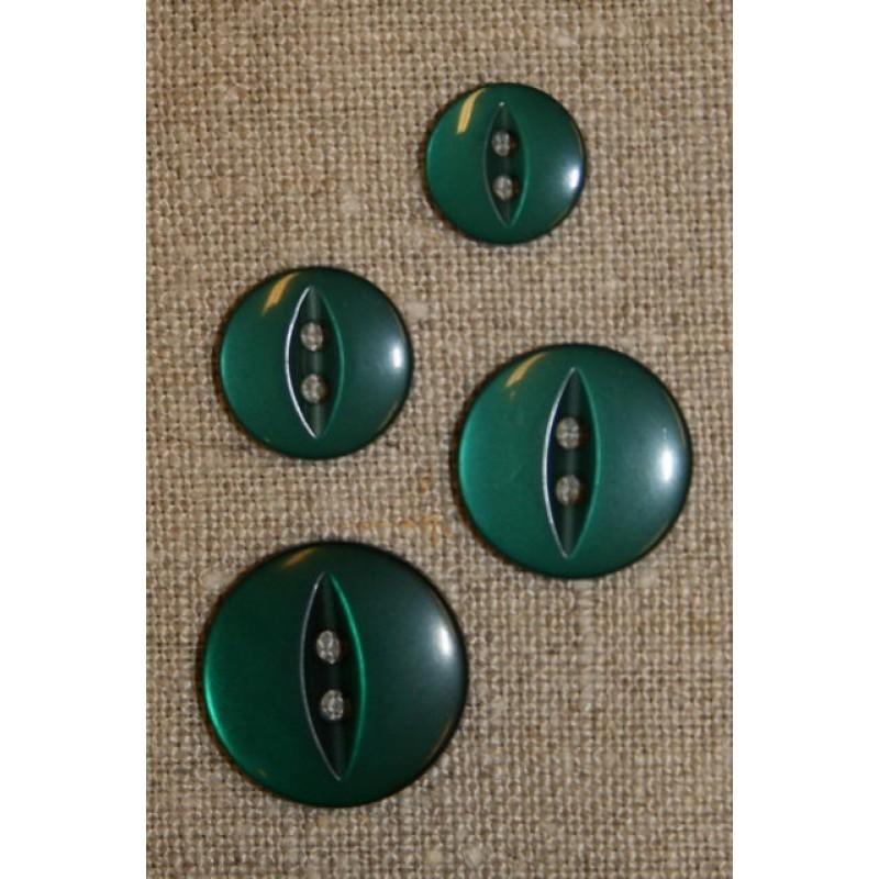Blank 2-huls knap flaskegrøn, 14 mm.-31