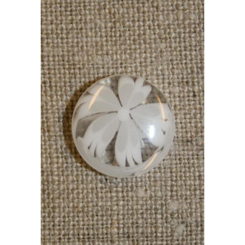 Klar knap m/blomst hvid