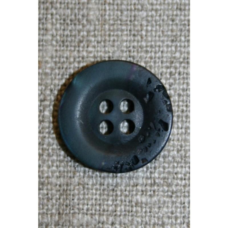 Blå krakeleret knap, 18 mm.