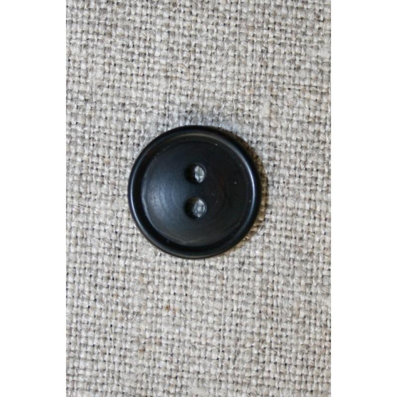 Sort 2-huls knap, 15 mm.-31
