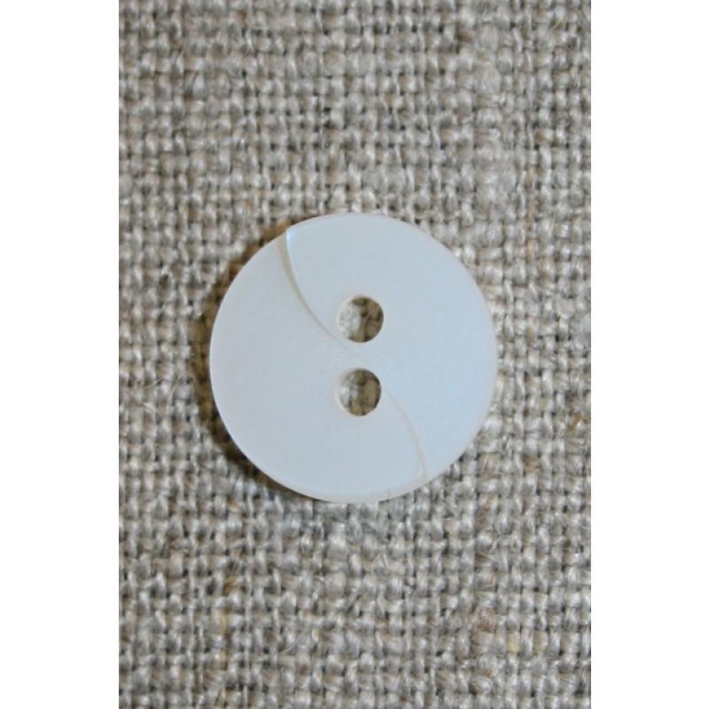 Hvid knap m/drejet look, 13 mm.
