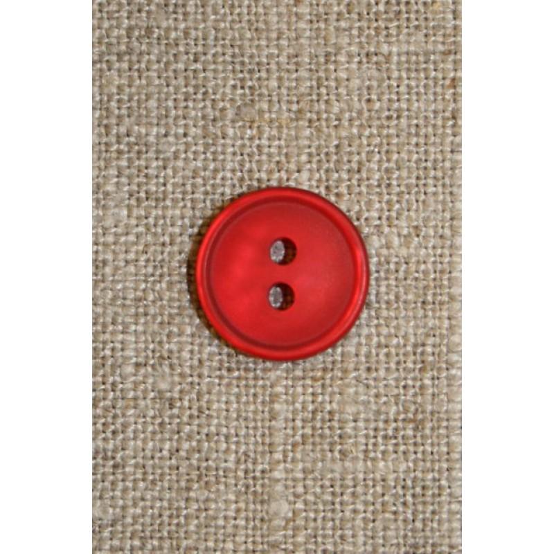 Rød 2-huls knap 13 mm.