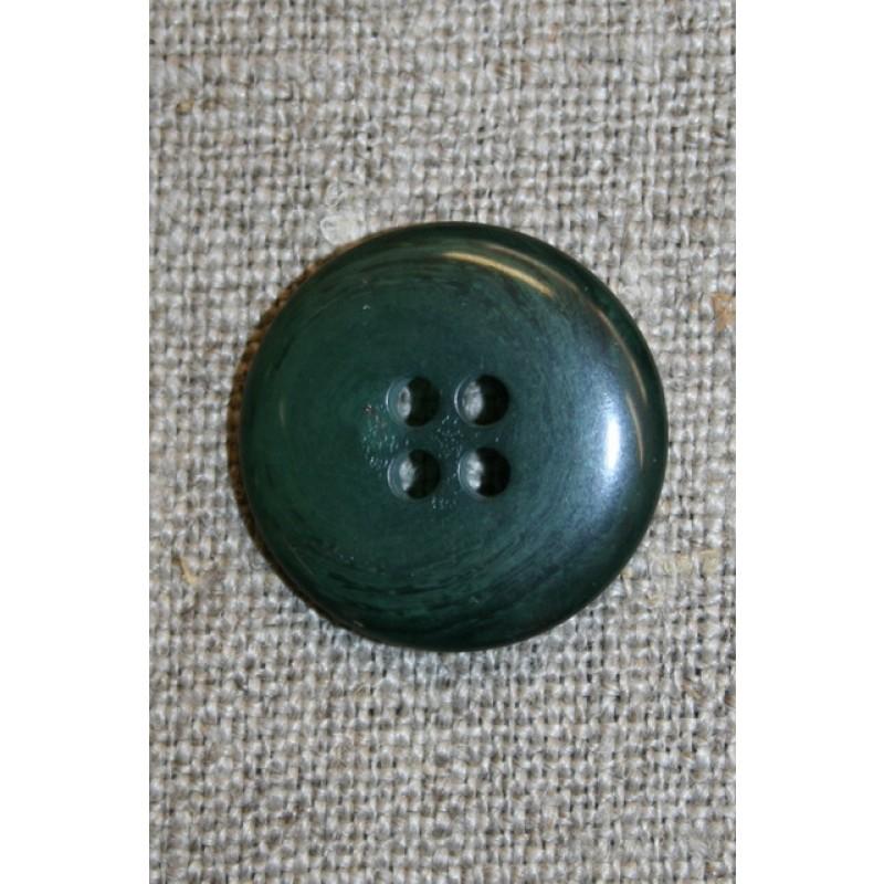 Mørkegrøn 4-huls knap, 20 mm.