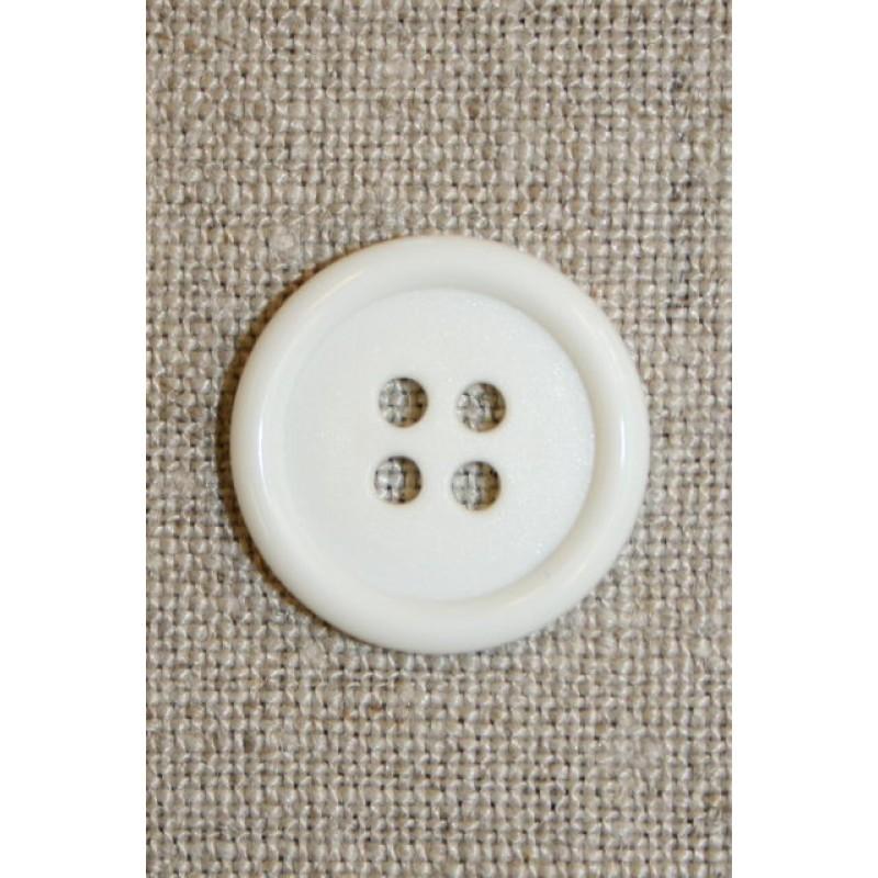 Hvid 4-huls knap 20 mm.