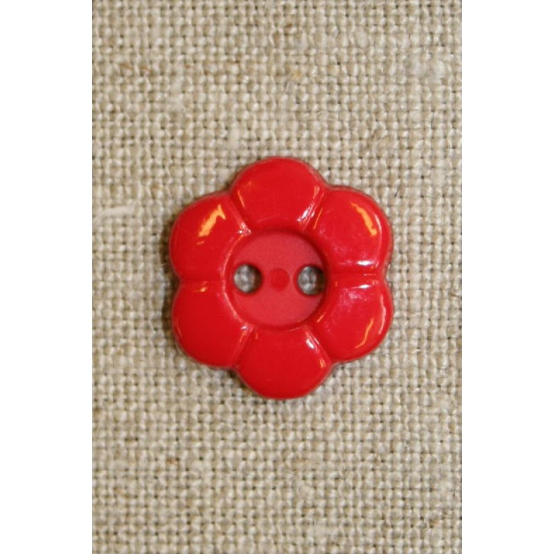 Blomster knap 2-huls rød-33