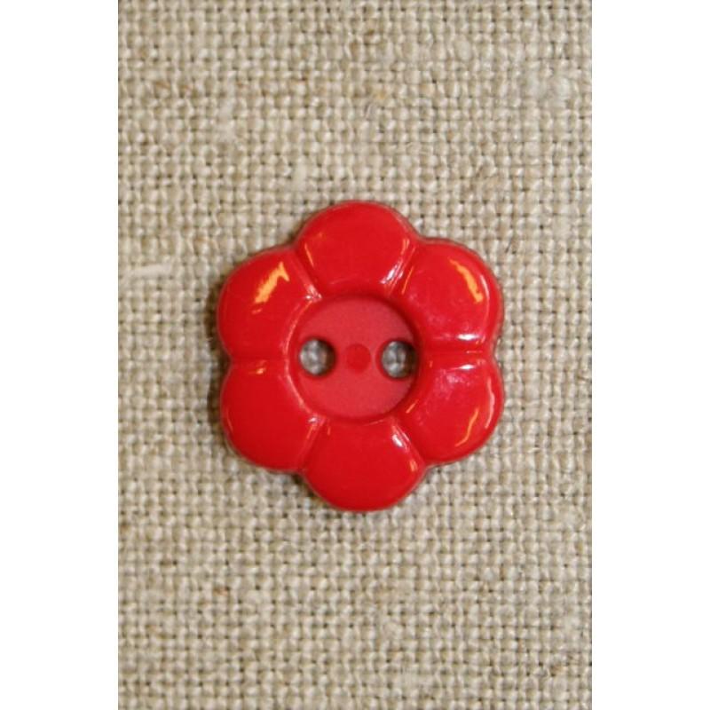 Blomster knap 2-huls rød