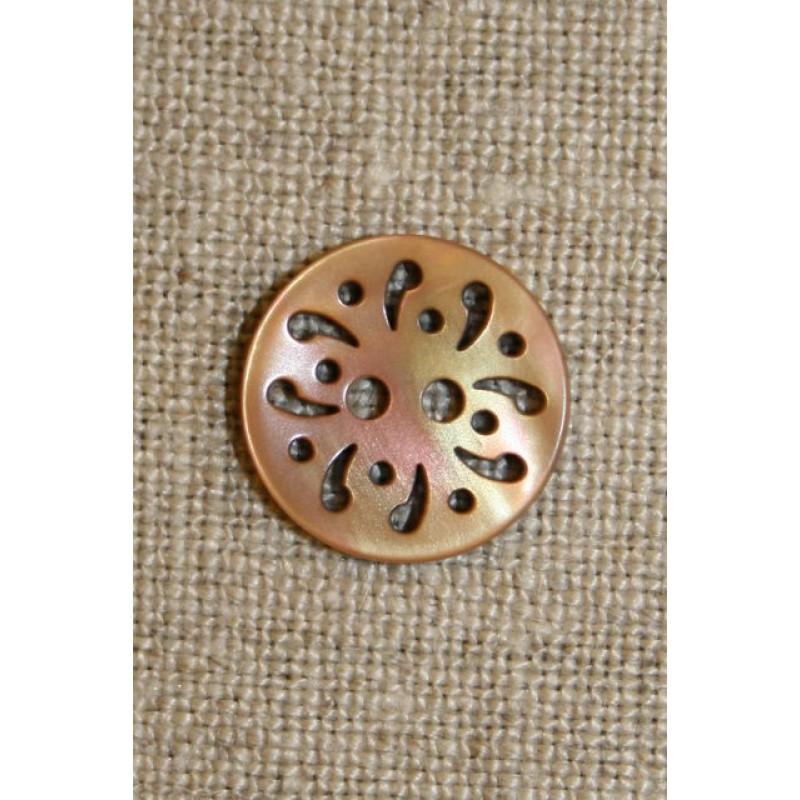 Beige knap m/hulmønster,15 mm