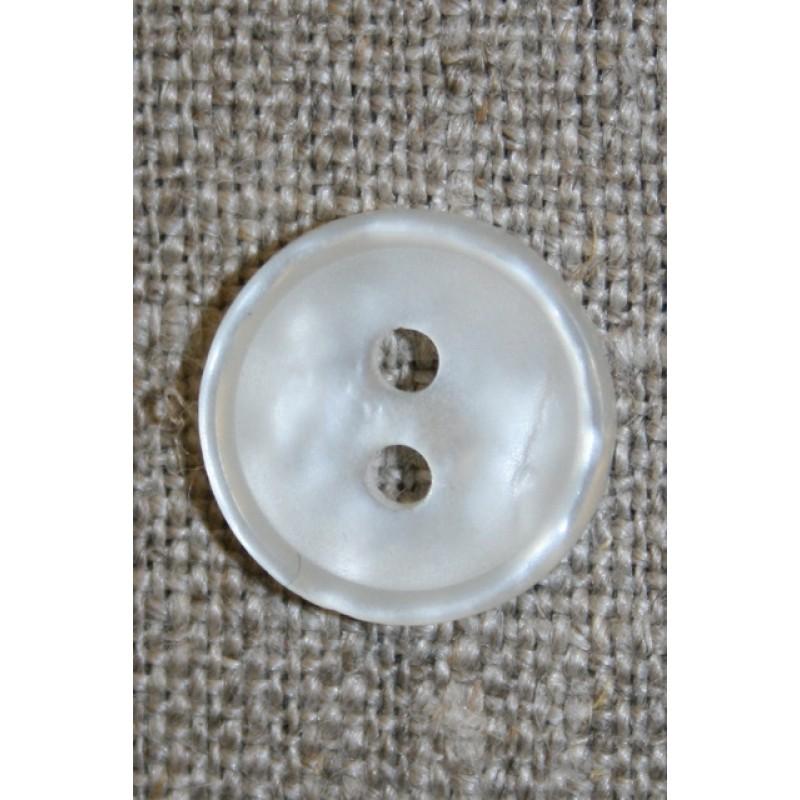Knækket hvid 2-huls knap, 14 mm.-33