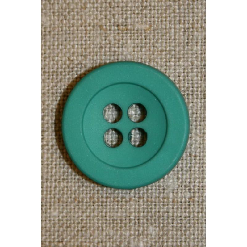 Irgrøn 4-huls knap, 22 mm.