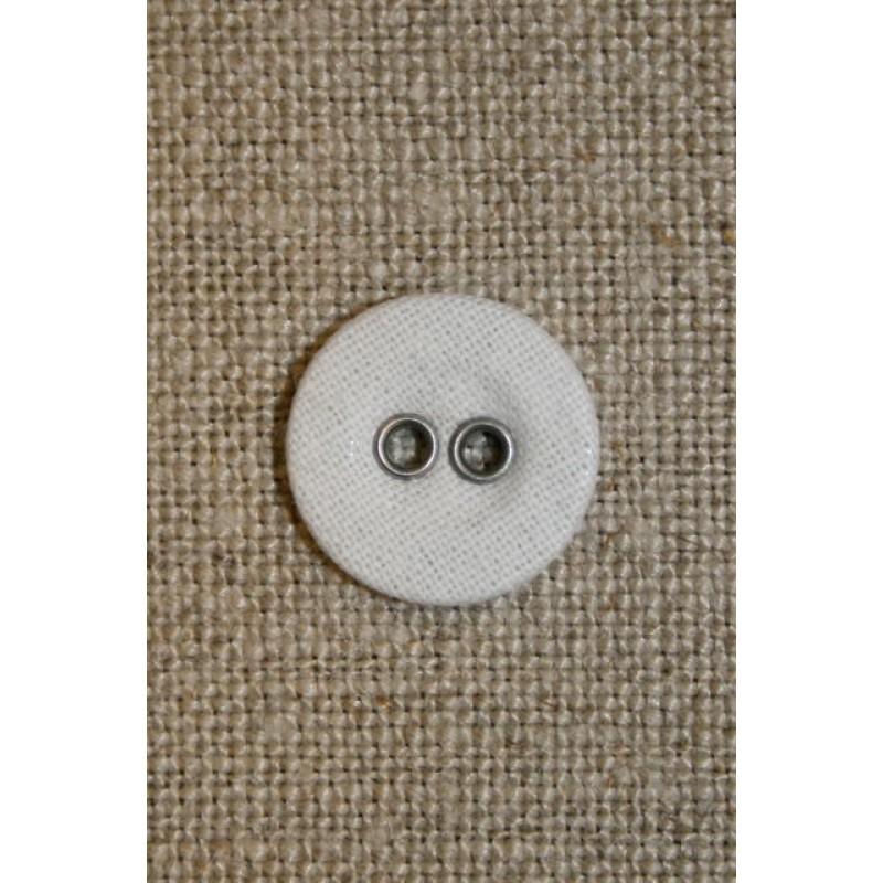 Hvid lærreds knap 14 mm.