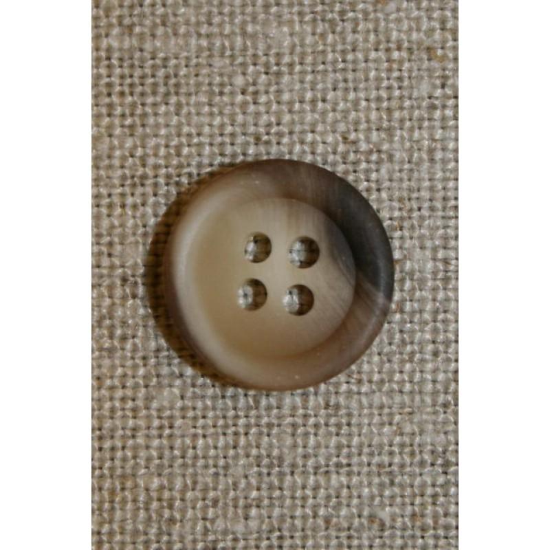 4-huls knap beige/brun 15 mm.-31