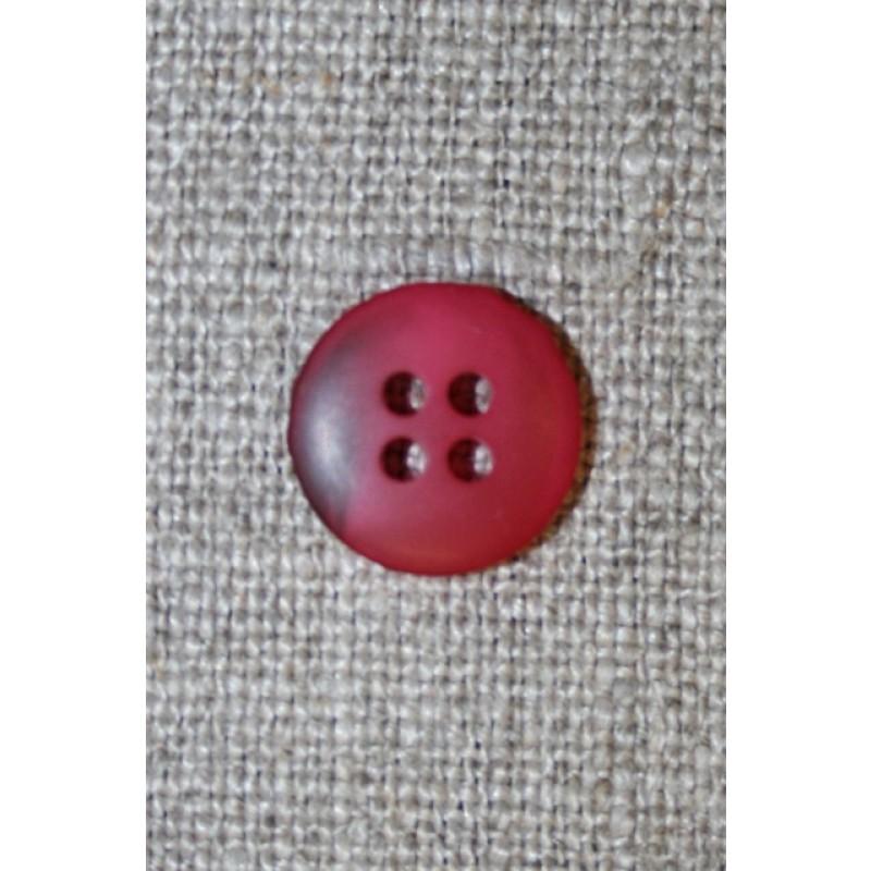 4-huls knap hindbærrød meleret, 15 mm.-35