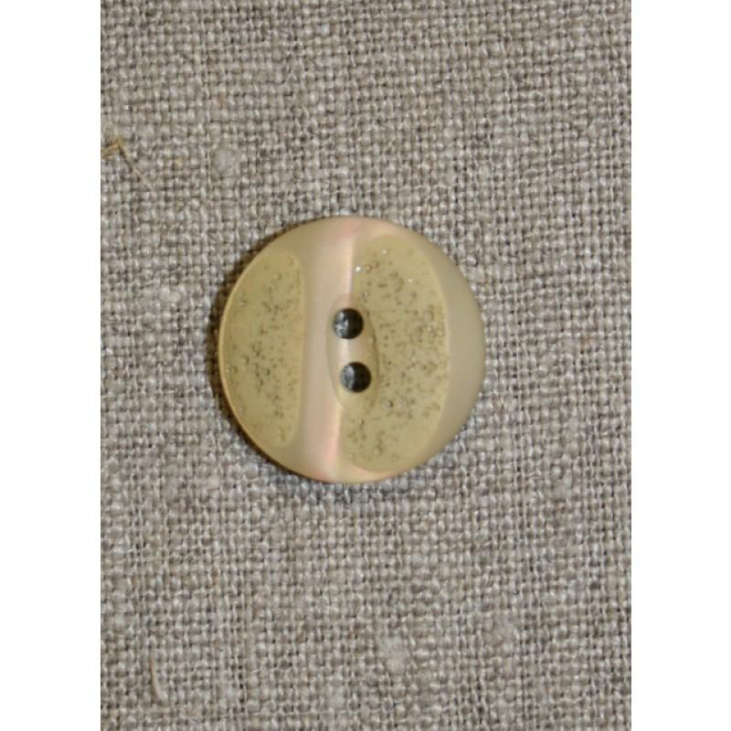 Beige/grøn meleret knap, 20 mm.