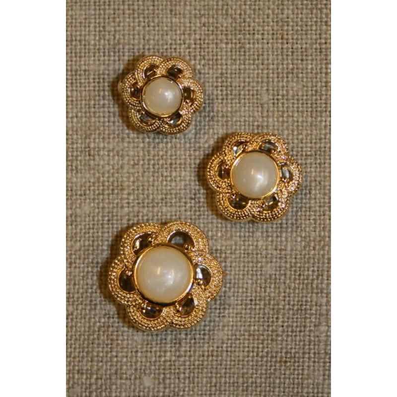 Guldknap m/perle, 14 mm.